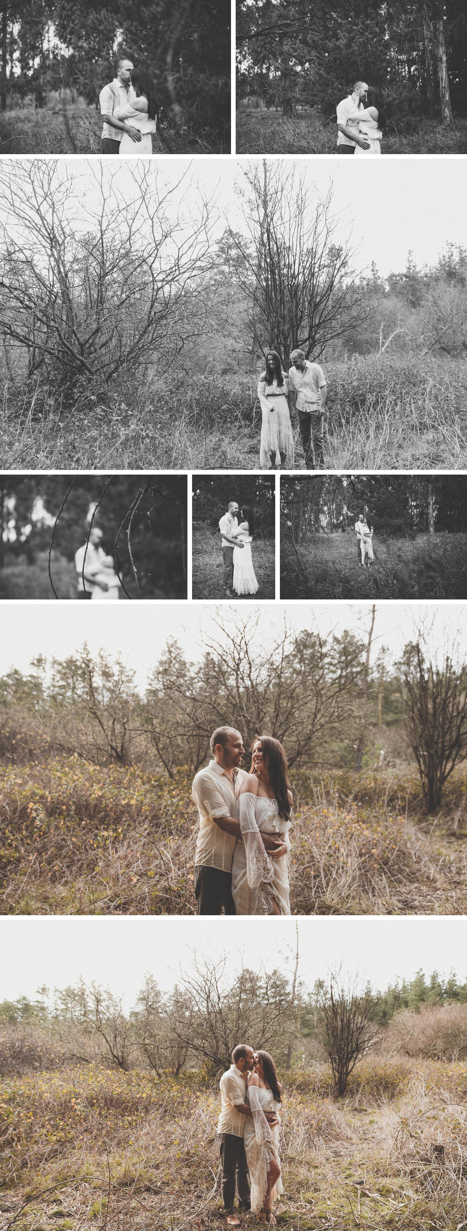 Forest Engagement Shoot, Gippsland Rural Wedding Engagement Photos, Bride and Groom in Trees Photo by Danae Studios