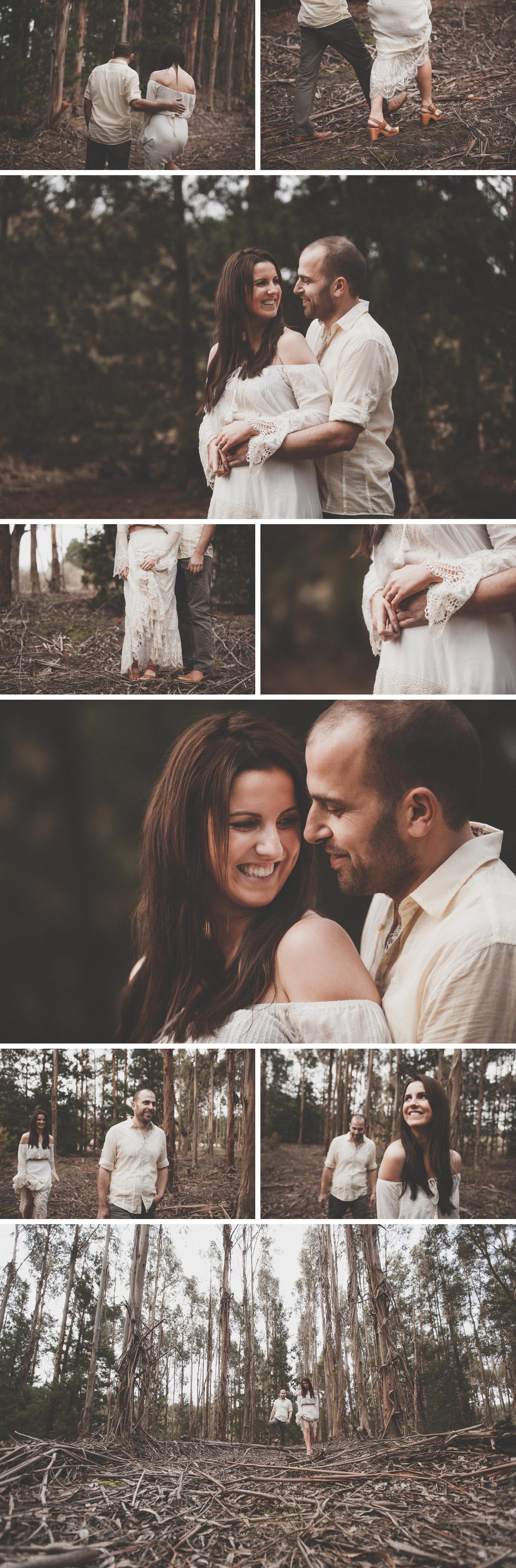 Forest Engagement Shoot, Gippsland Rural Wedding Engagement Photos, Bride and Groom Embracing Photo by Danae Studios