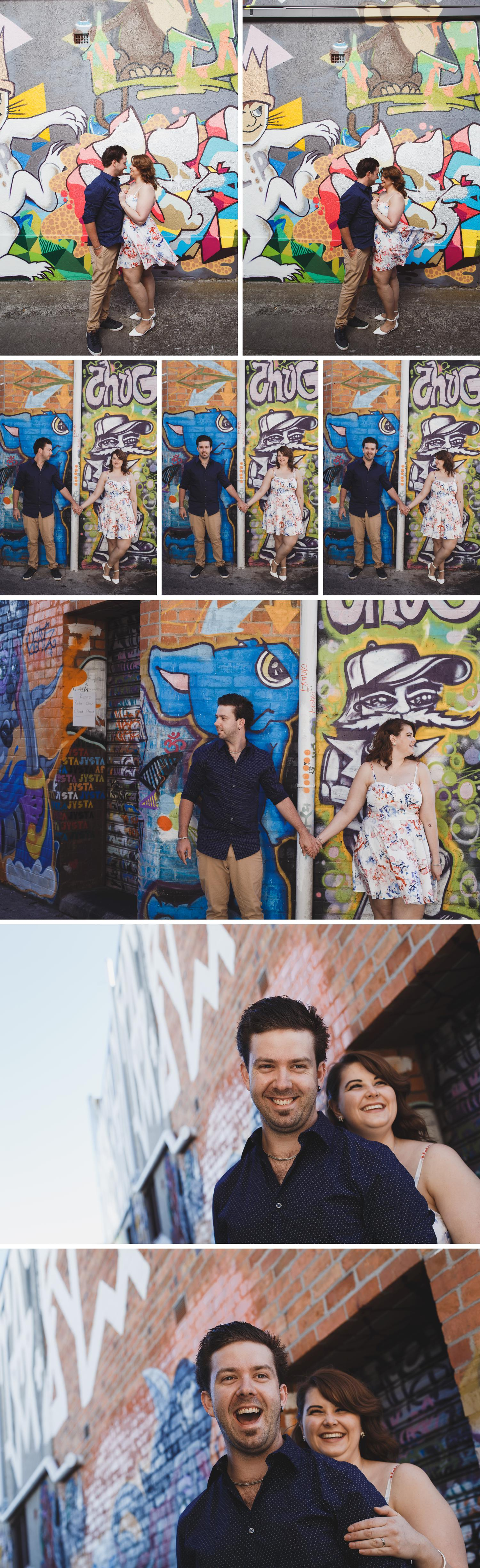 Gippsland Graffiti Wall, Urban Alley Engagement Shoot Victoria, Couple Standing by Graffiti Art Photo by Danae Studios