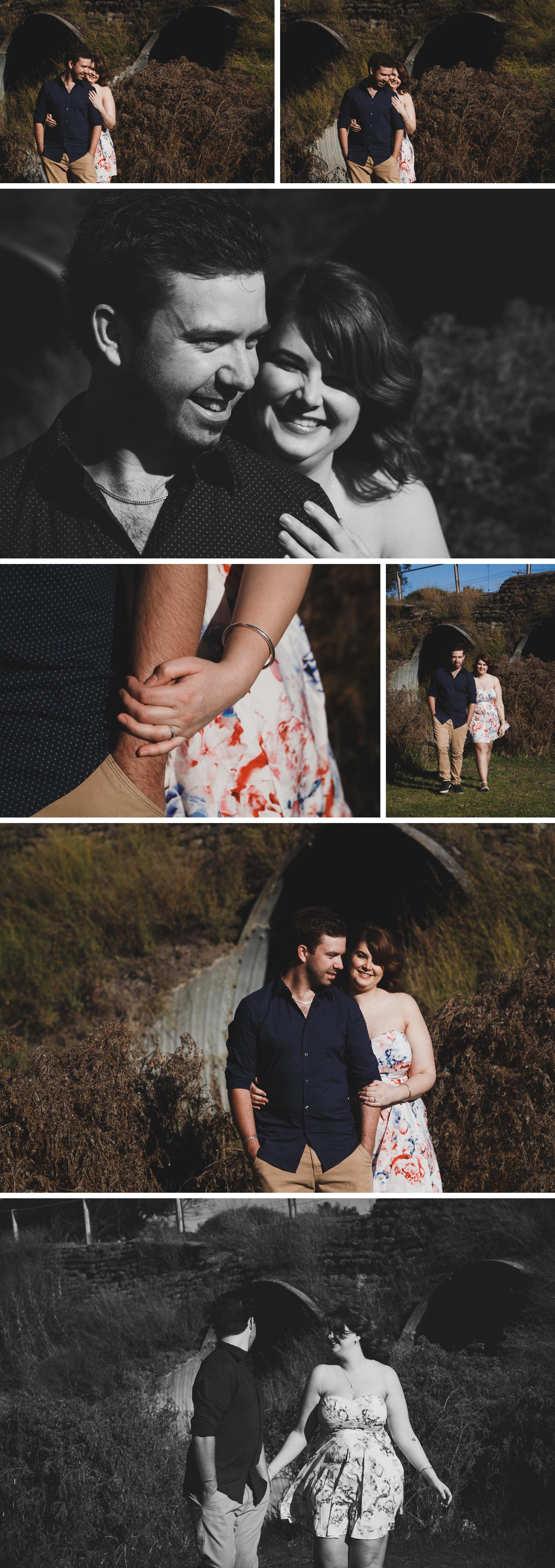 Long Grass Shot Gippsland, Urban Alley Engagement Shoot Victoria, Couple Standing in Long Grass by Danae Studios