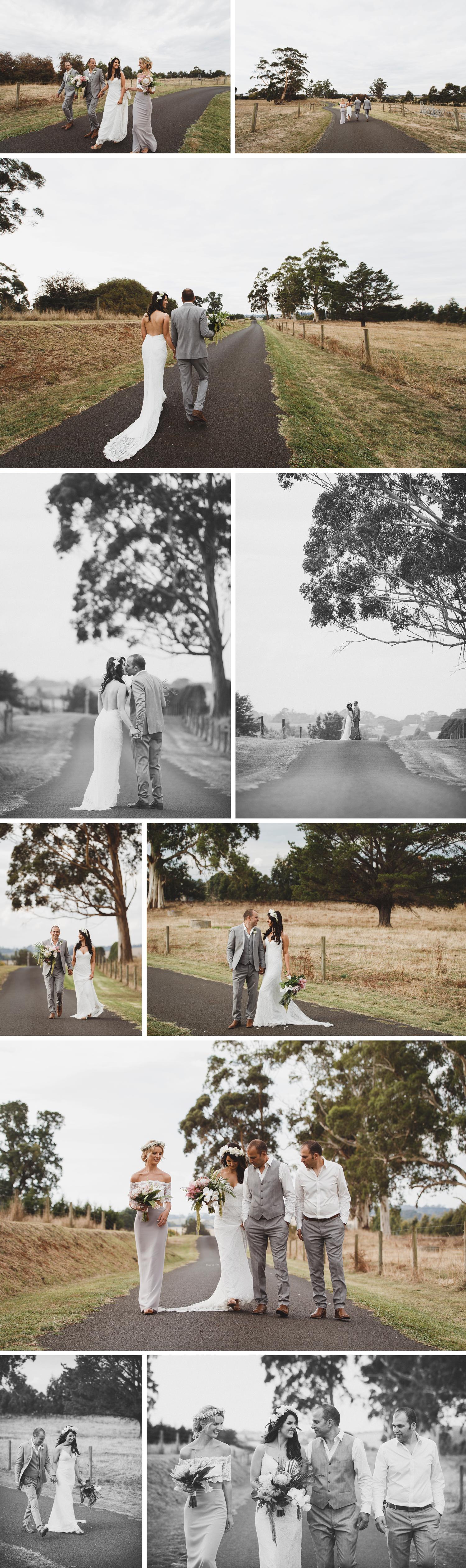 Tropical Boho Wedding, Rural Wedding on Family Property, Bride and Groom Holding Hands Wedding Photo by Danae Studios