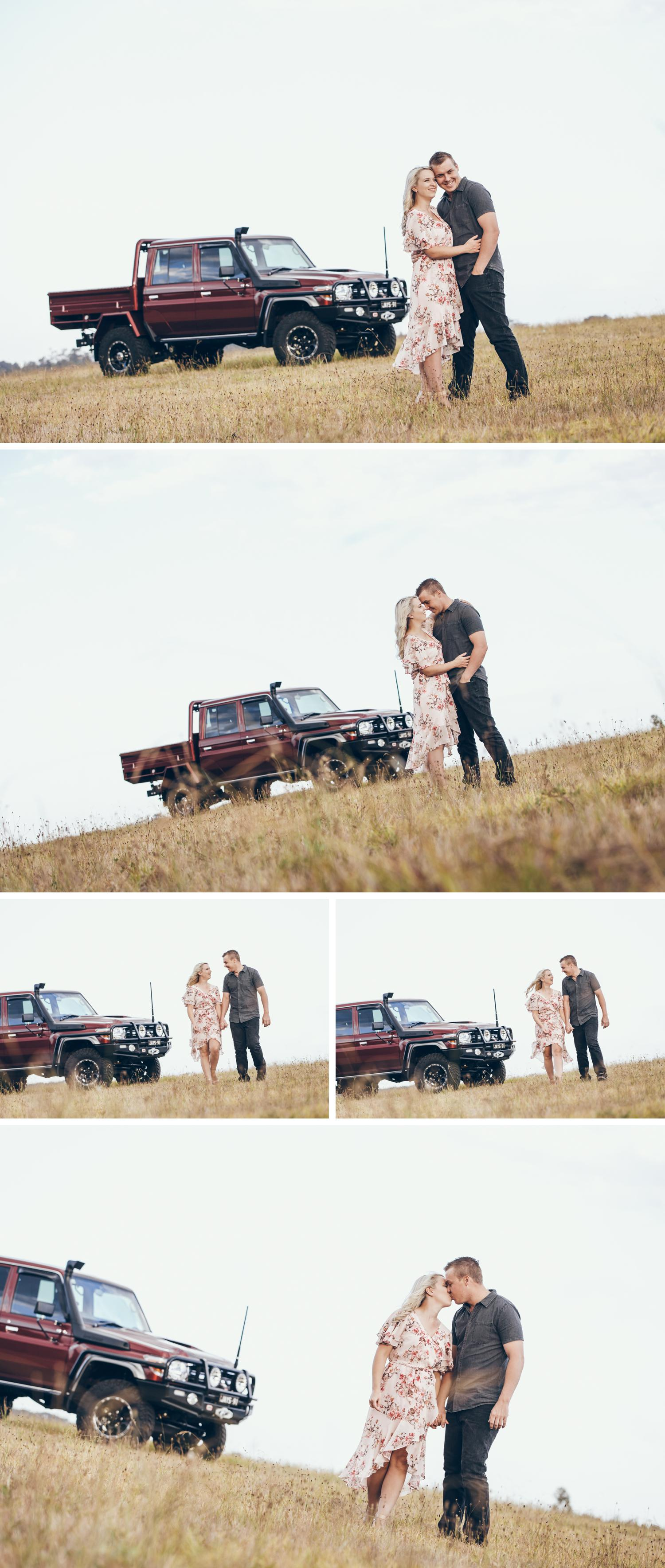 Couple Embracing Open Field Engagement Shoot, Wide Angle Shot of Bride and Groom Embracing in Long Grass by Danae Studios