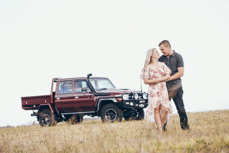 Engagement Shoot in a Carpark and a field