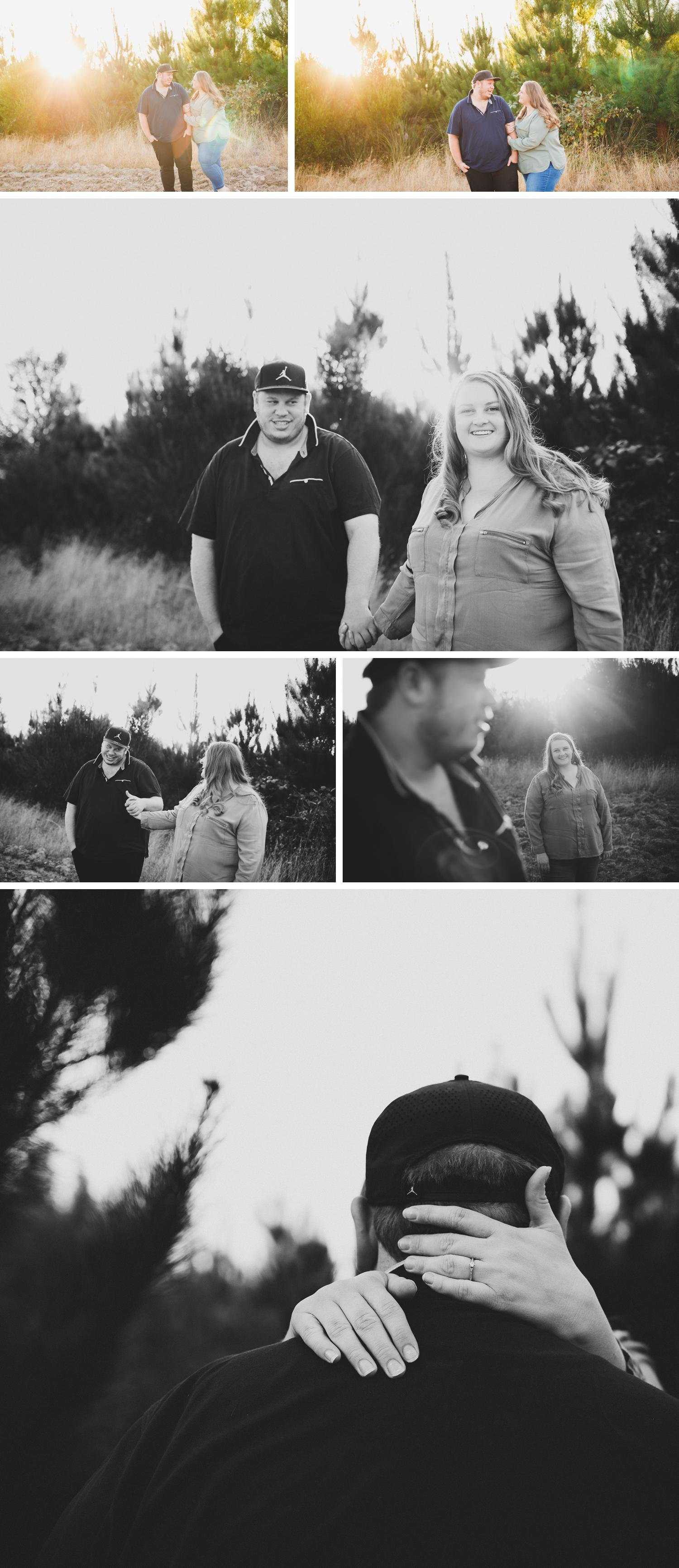 Gippsland Engagement Shoot Bush Themed, Forrest Trees Photo, Bride and Groom Embracing Photo by Danae Studios