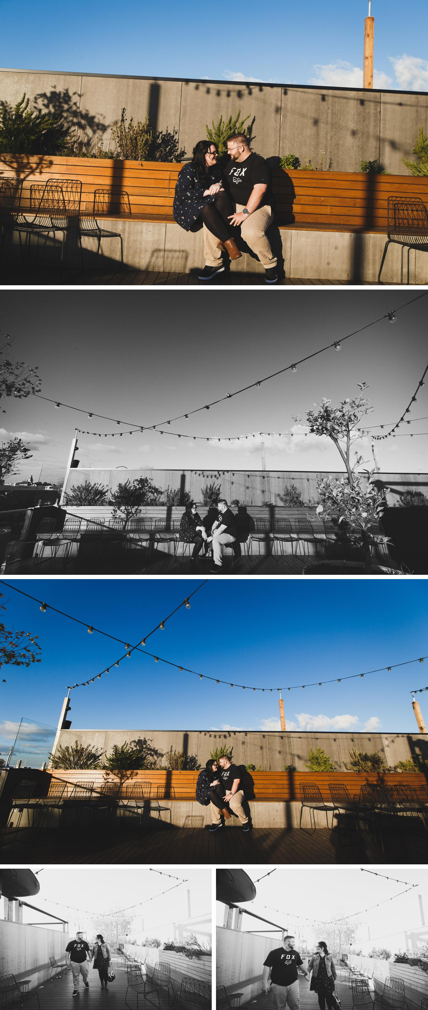 Junkyard Engagement Shoot, Rooftop Bar Momos Traralgon, Engagement Shoot by Danae Studios