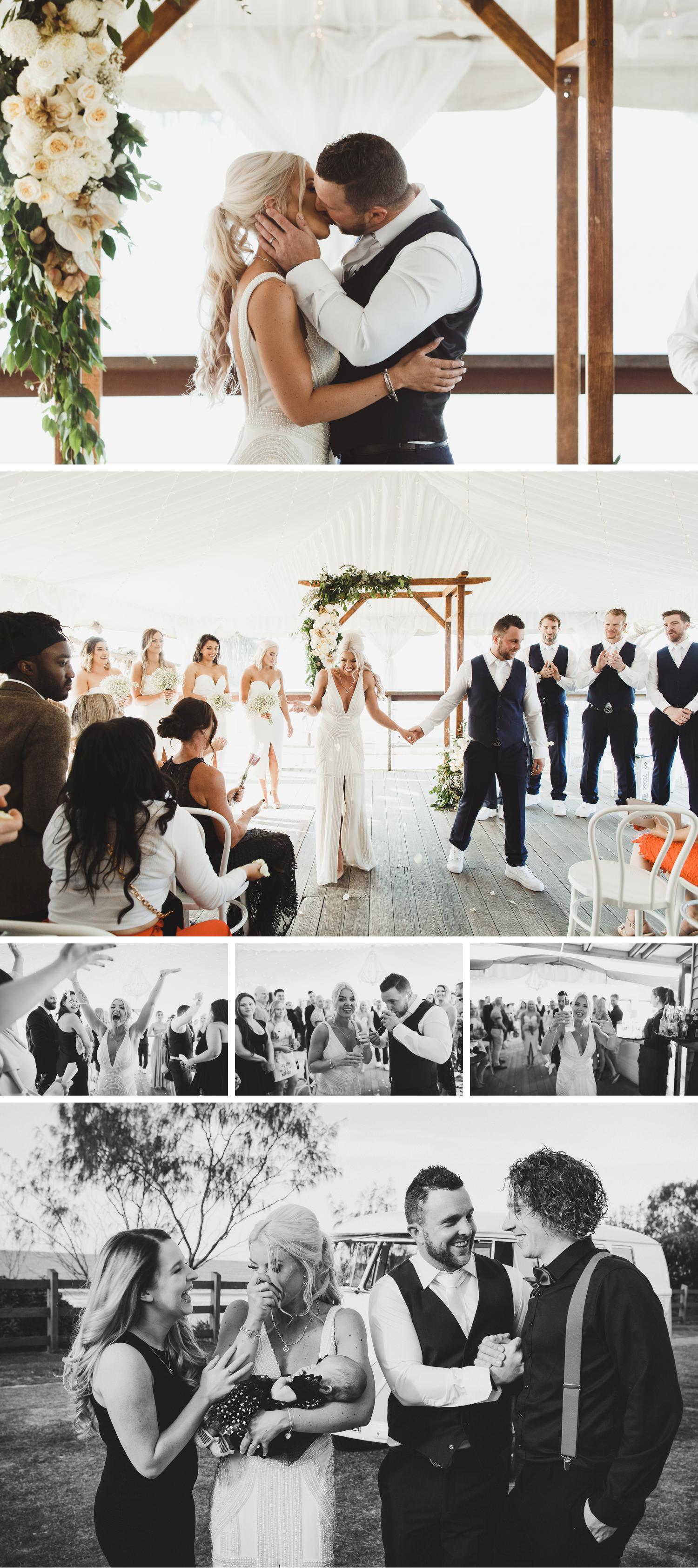 Byron Bay Victoria Wedding Photos, Byron Bay Surf Club Wedding, Bride Walking Down the Aisle, Bride and Groom Holding Hands Wedding Photos by Danae Studios
