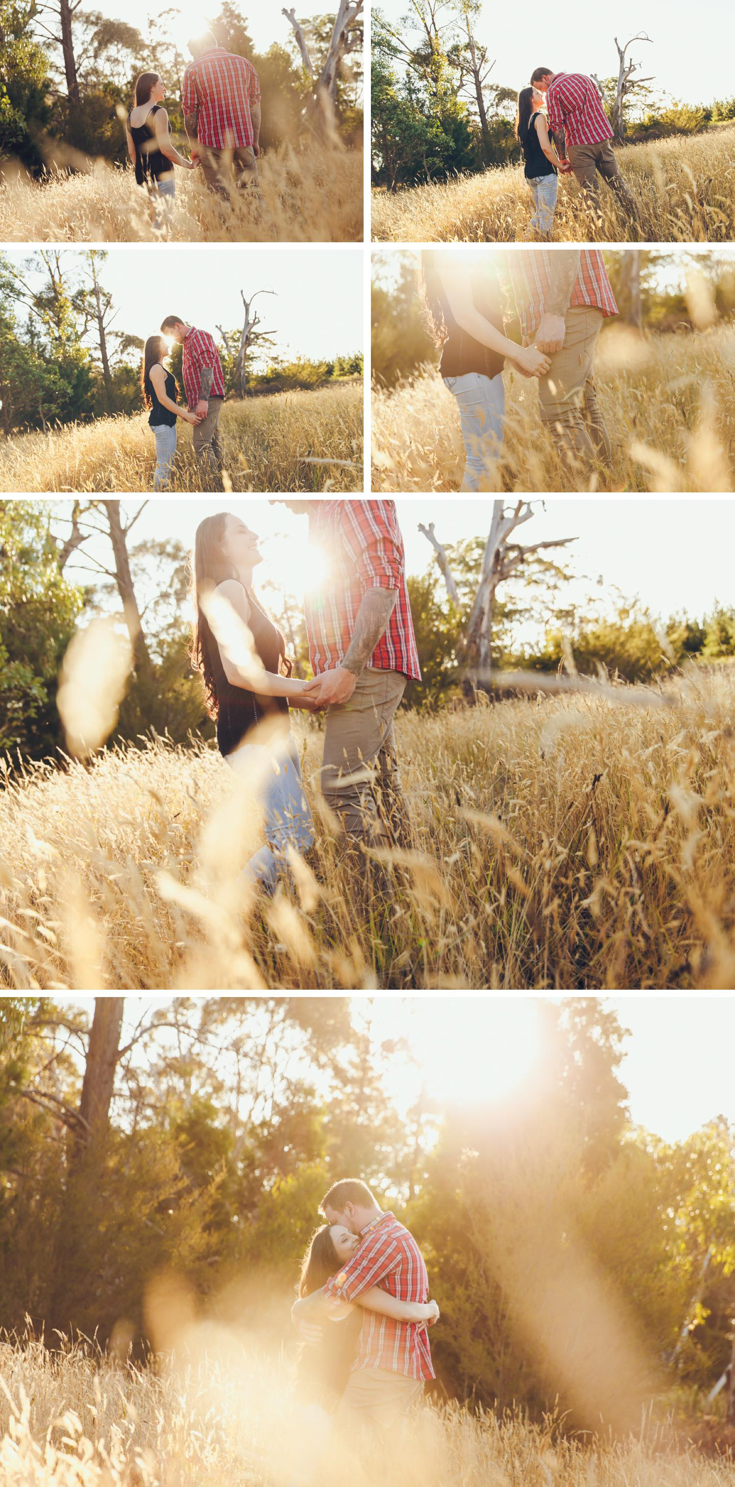 Gippsland Pine Plantation Engagement Shoot, Beautiful Field Engagement Shoot Couple Embracing by Danae Studios