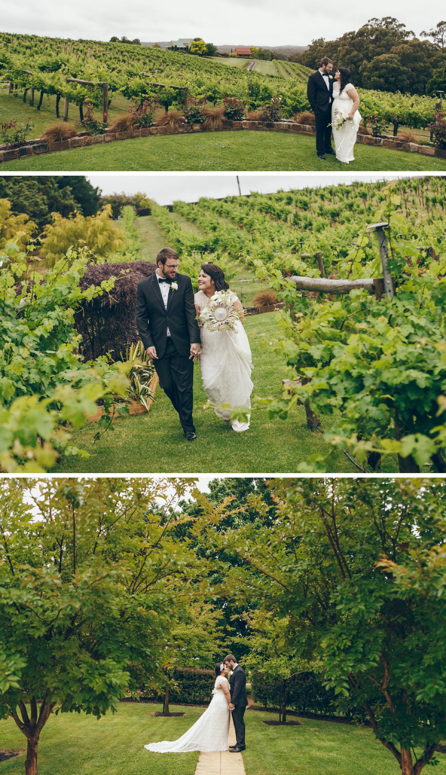 Tom's Cap Vineyard Gippsland Wedding Photo, Vineyard Wedding Photos by Danae Studios, Bride and Groom Embracing
