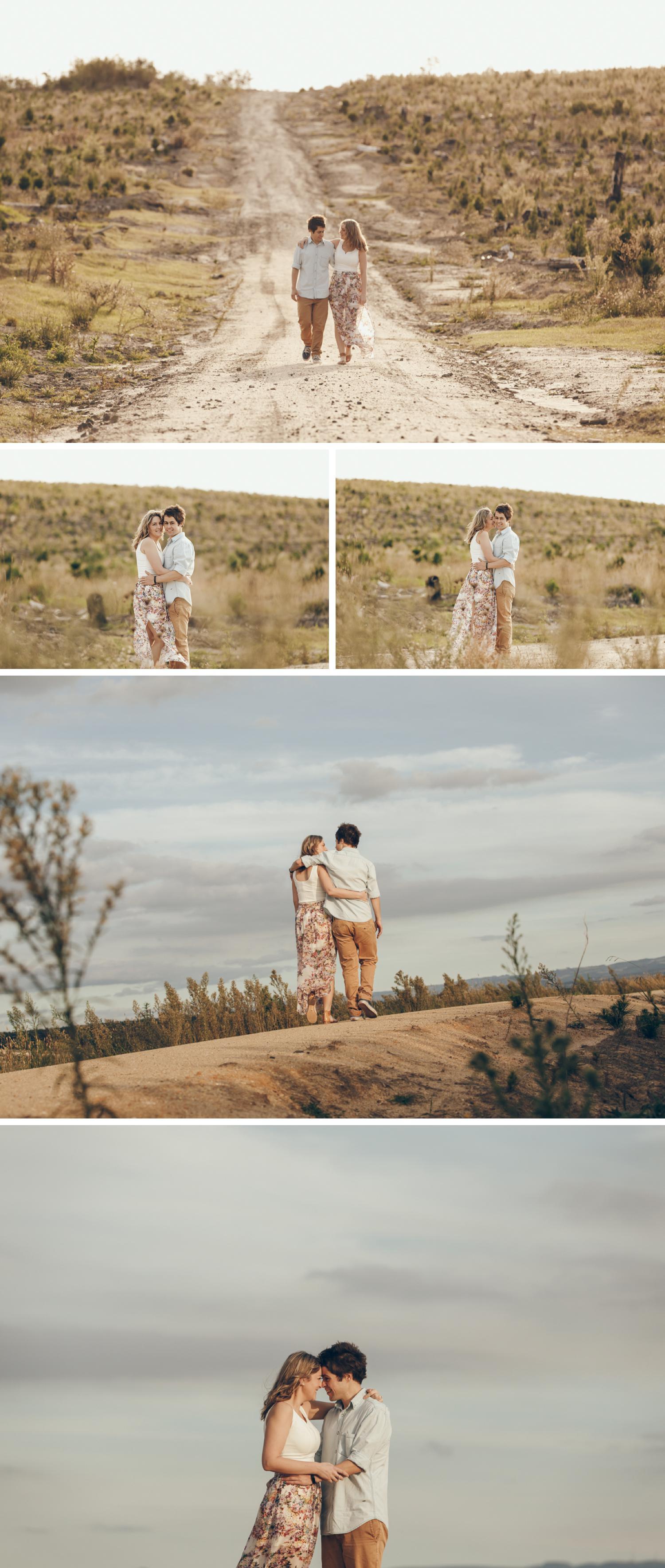 Gippsland Field Engagement Shoot, Beautiful Couple Shoot, Couple Embracing Engagement Shoot by Danae Studios, Gippsland Photographer