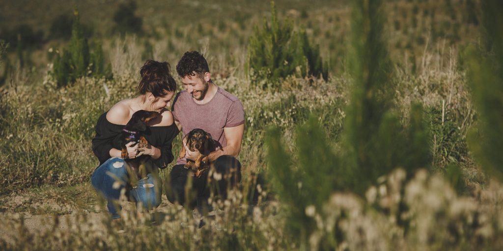 Pine Plantation Engagement Shoot, Gippsland Victoria Photographers, Sausage Dogs Photos, Cute Engagement Shoot by Danae Studios
