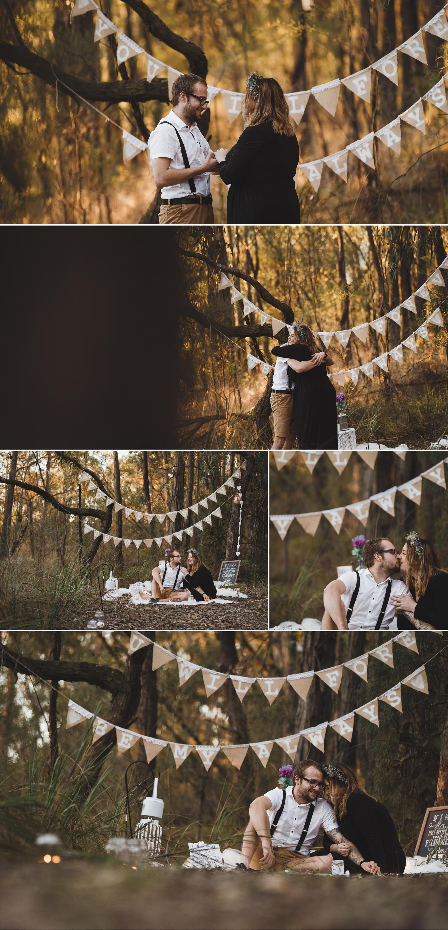 Mt Cannibal Gippsland, Proposal Photo, Forest Photoshoot Engagement, Beautiful Couple Embracing, Flower Crowns Wedding by Danae Studios