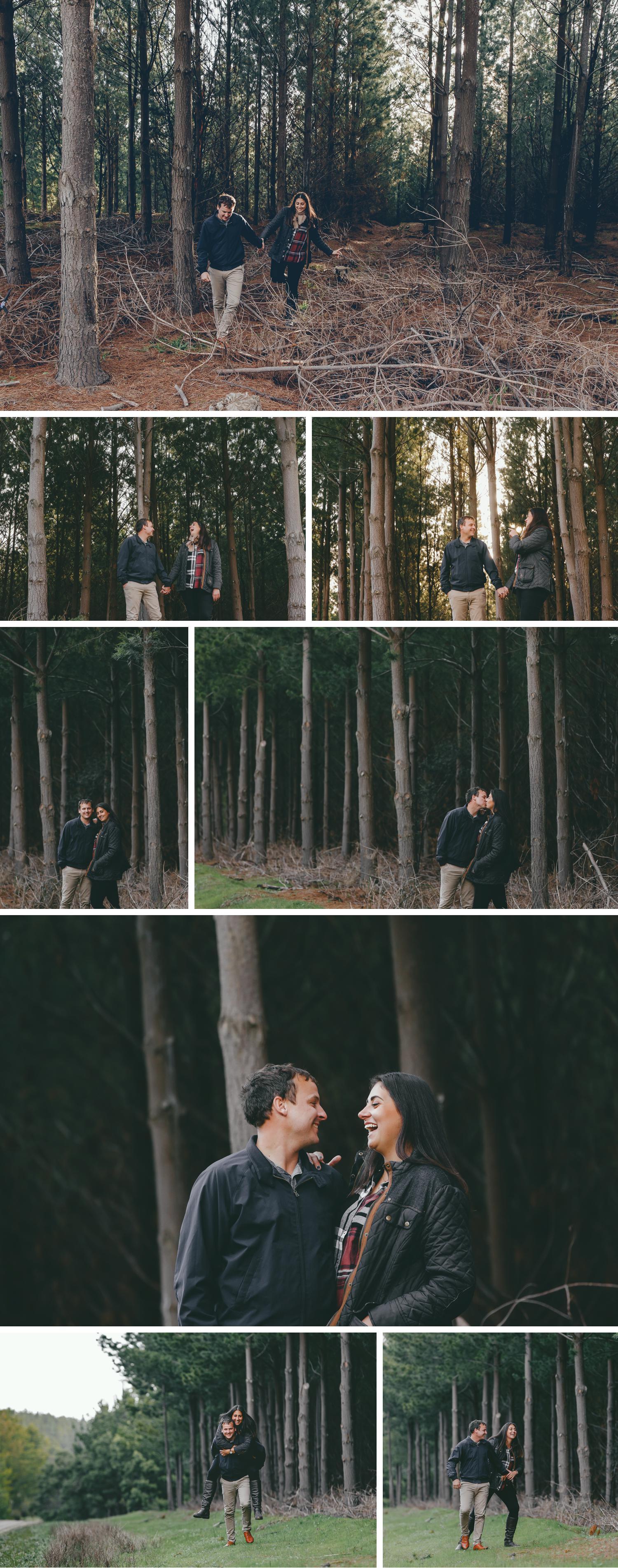 Pine Plantation, Engagement Shoot, Forrest Rain Photoshoot, Couple Embracing by Danae Studios