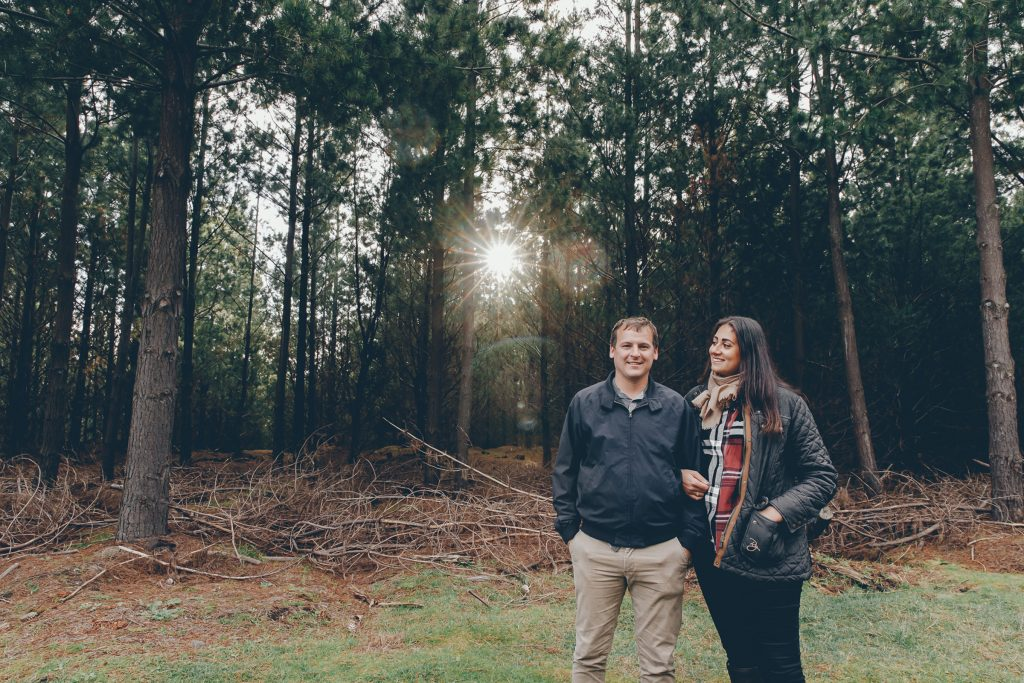 Pine Plantation, Engagement Shoot, Forrest Rain Photoshoot, Couple Embracing by Danae Studios