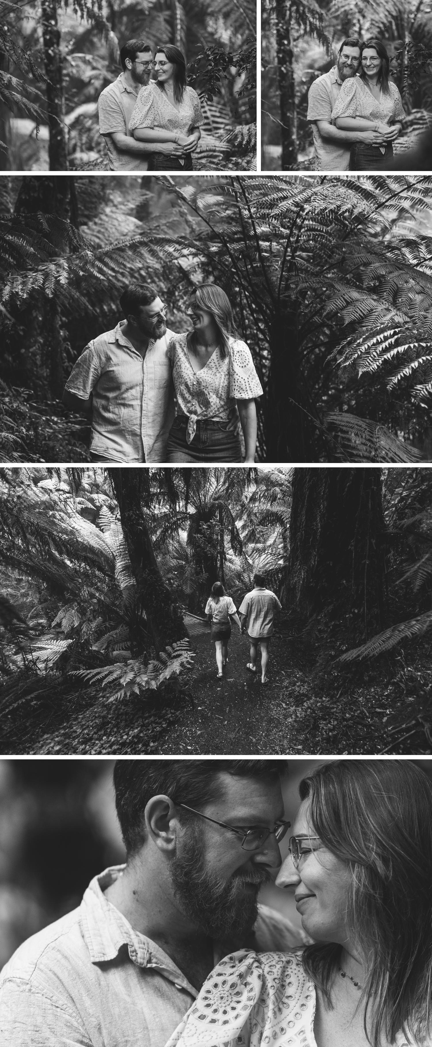 Tara Bulga Engagement Shoot Rainforest Wedding Gippsland Beautiful Black and White Wedding Photos by Danae Studios