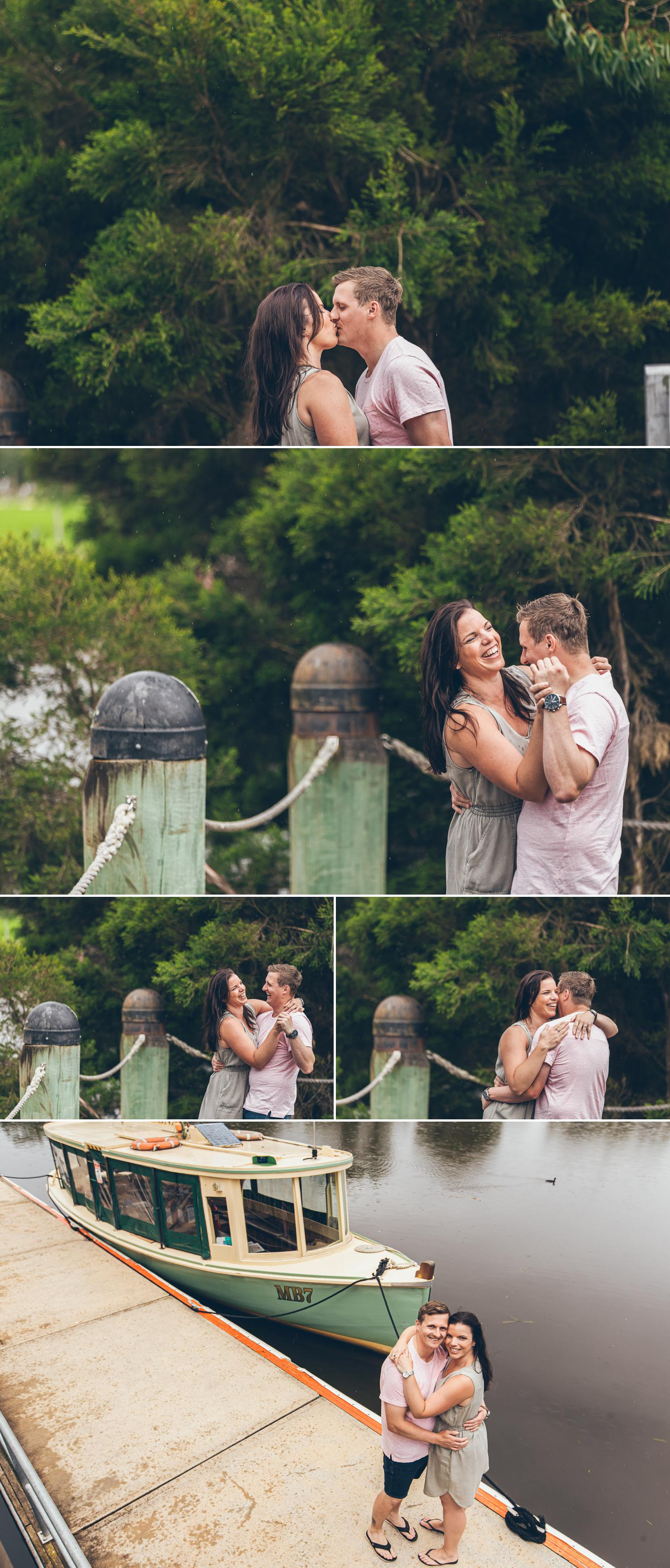 Engagement Shoot Street Gippsland Beautiful Black and White Wedding Photos Couple Embracing by Danae Studios