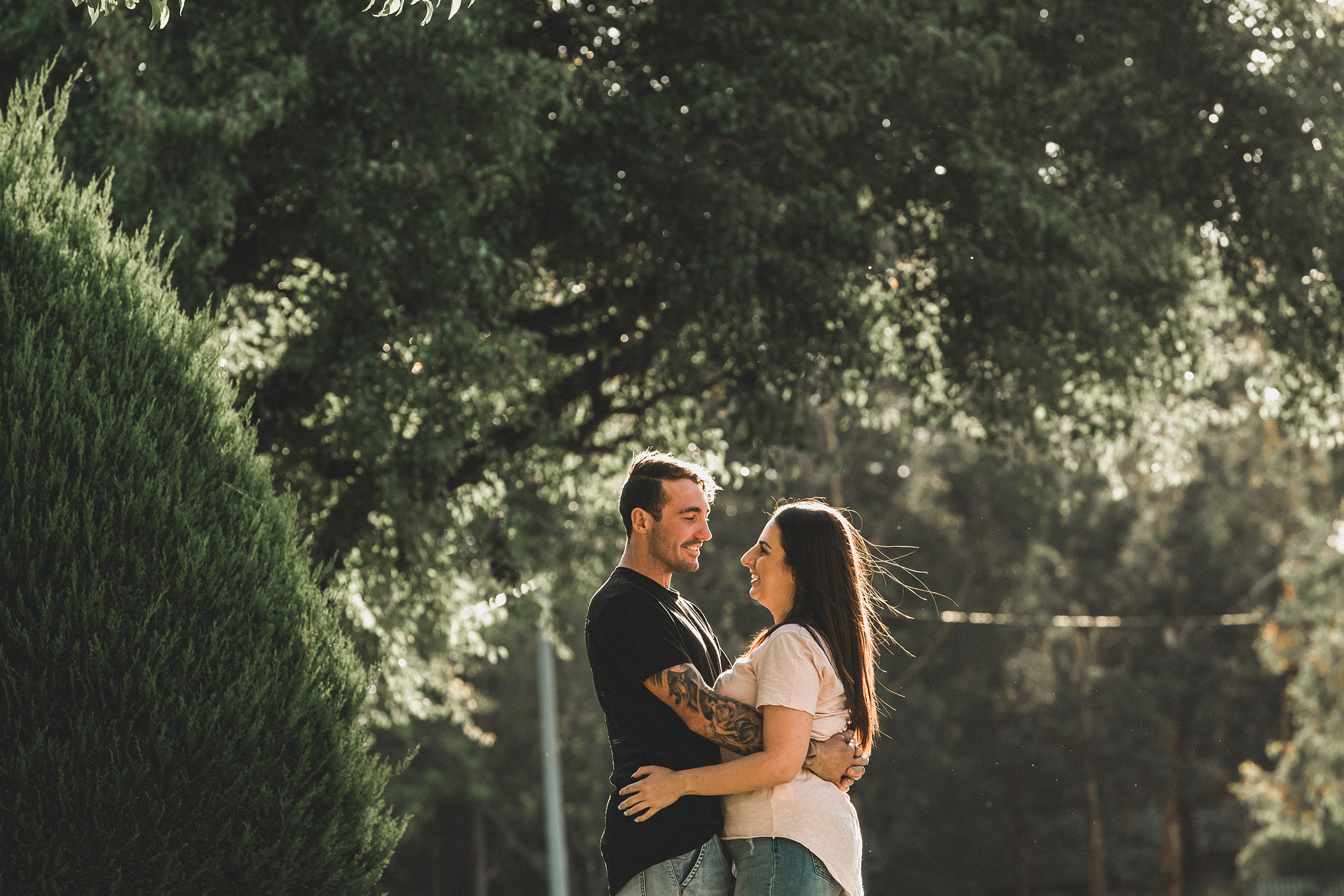 Engagement Shoot Street Gippsland Beautiful Engagement Photos Couple Embracing by Danae Studios